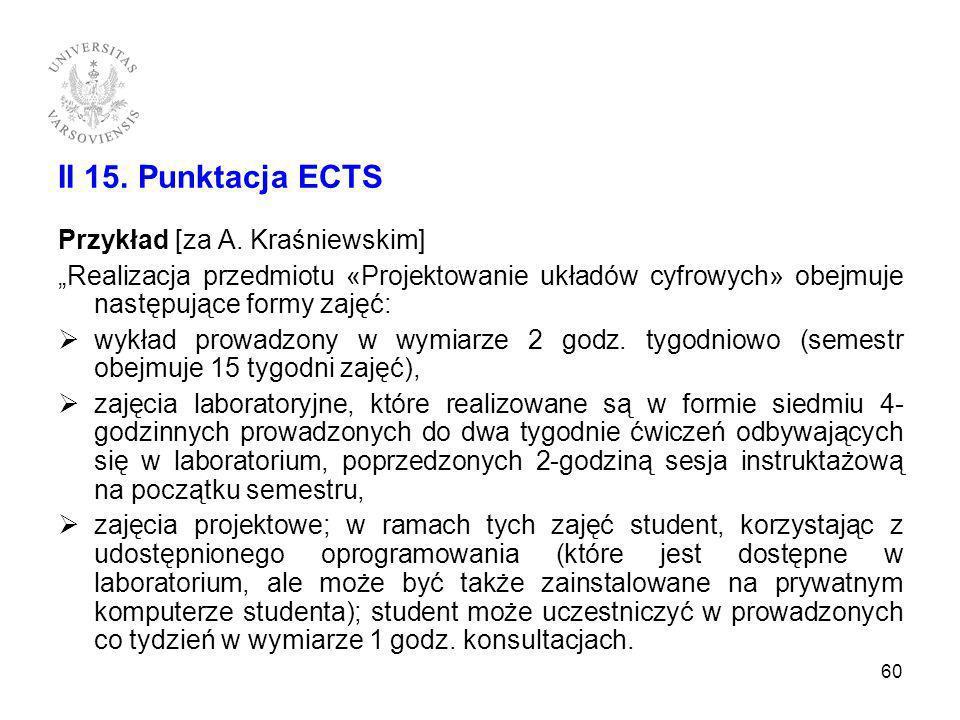 II 15. Punktacja ECTS Przykład [za A. Kraśniewskim]